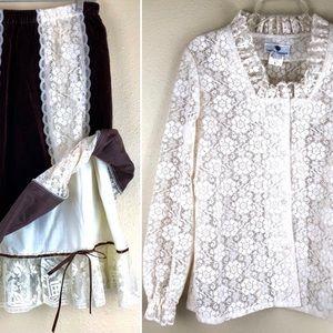 L Ren Fair / Steampunk Vintage Lace Blouse & Skirt
